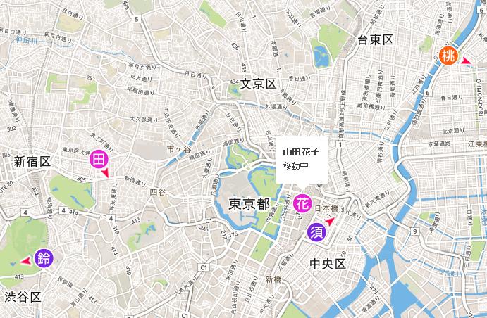 ユーザーの地図上での位置確認